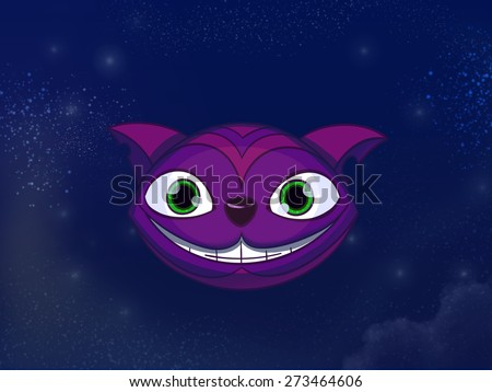 Cheshire cat big smiley purple face. Kids book digital background raster illustration.