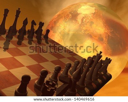 Chess and an earth trying to convey global business strategy in brown background - stock photo