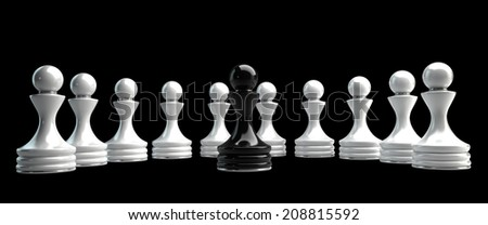 Chess background central figure - black pawn High resolution 3d  - stock photo
