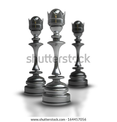 Chess black Queen isolated on white background High resolution 3d