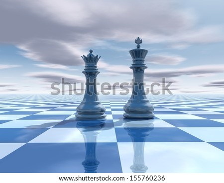 Chess blue background with king and queen concept illustration with sky and chess board - stock photo