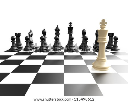 Chess board and black chess pieces from king view, isolated on white background. - stock photo