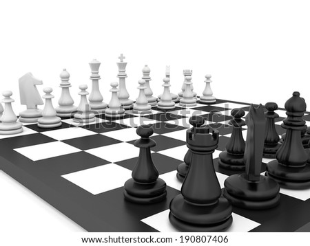 chess board and chess pieces. isolated on white background