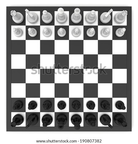 chess board and chess pieces. top view - stock photo