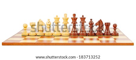 Chess board and chessmen, isolated on white background - stock photo