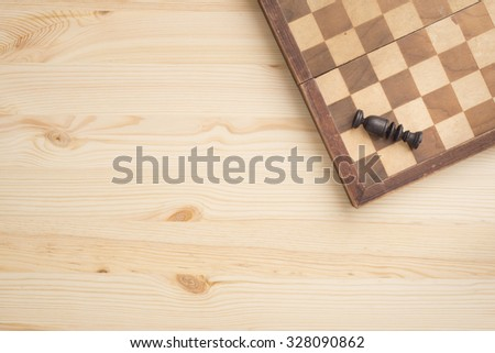 Chess board and piece. Concept of strategy, winning or losing. - stock photo