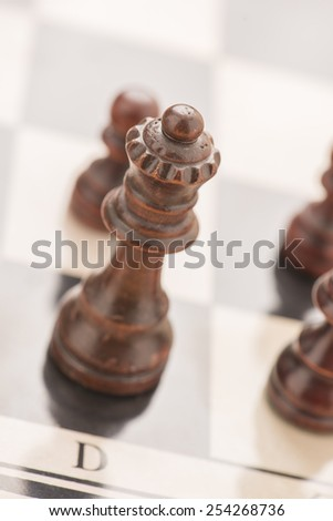 Chess board and pieces. Black queen.