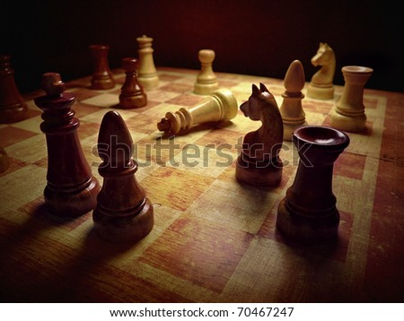 Chess board 3d rendering - stock photo