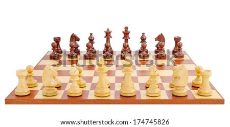 Chess board set up to begin a game, isolated on white background - stock photo