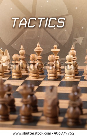 chess board tactics business concept - stock photo