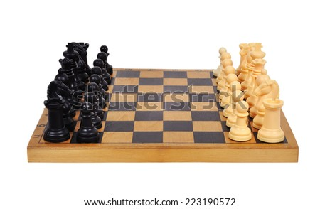 Chess Board with Chess Figure on white background - stock photo