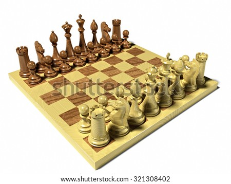 Chess board with chess pieces - stock photo