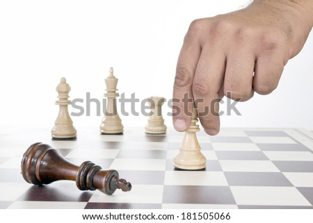 Chess board with chess pieces , close up - stock photo