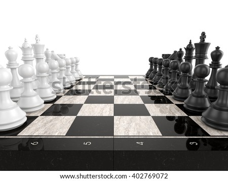 Chess board with chess pieces , isolated on white , 3d render - stock photo