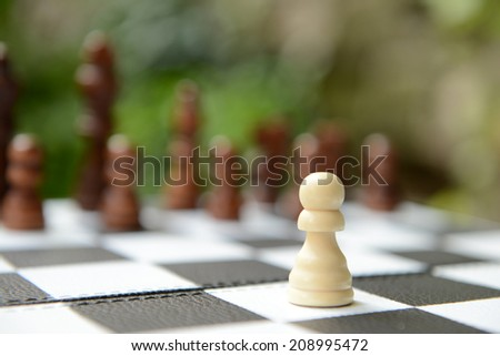 Chess board with chess pieces on bright background - stock photo