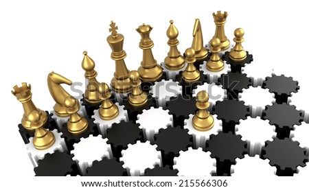 Chess board with gear. Three Dimensional rendering. - stock photo