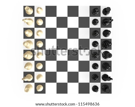 Chess board with starting positions aligned chess pieces, top view, isolated on white background. - stock photo