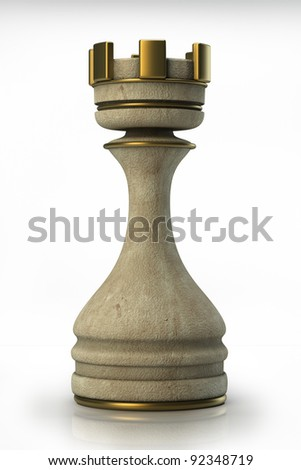 Chess Castle  Stone  isolated on white background. High resolution. 3D image
