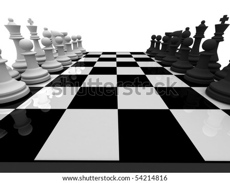 Chess. Chessmen on chessboard isolated on white background. High quality 3d render. - stock photo