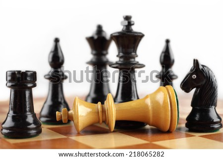 Chess concept. Checkmate white king.