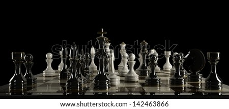Chess concept image - checkmate. High resolution 3D render