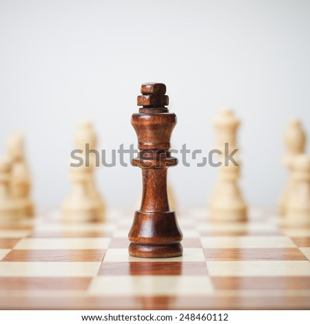 chess concept on grey background - stock photo