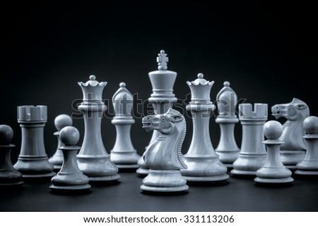 Chess concept save the king and save the  strategy. - stock photo