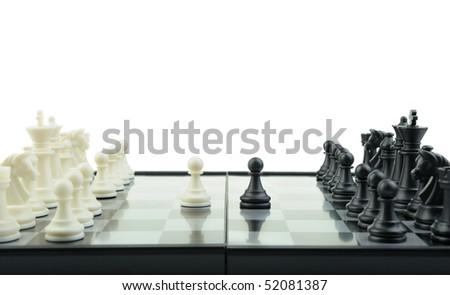Chess. Desktop logic game. First motion - stock photo