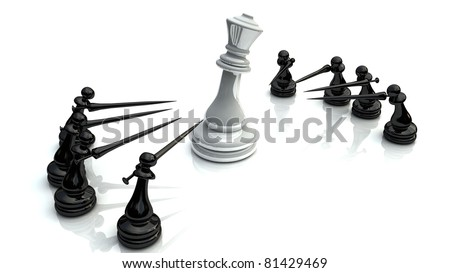 Chess fight - stock photo