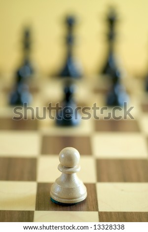chess figure on board - stock photo