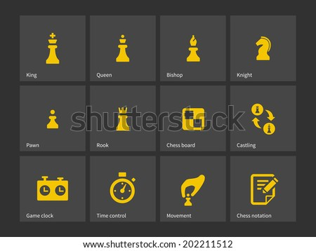 Chess figures and board icons. - stock photo