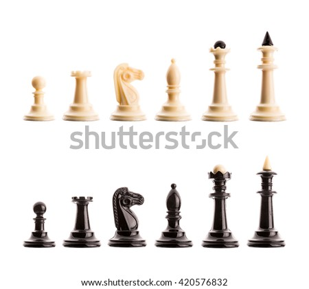 Chess figures isolated - stock photo