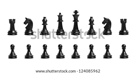 Chess figures isolated on a white background - stock photo