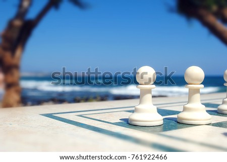 Chess figures near the sea