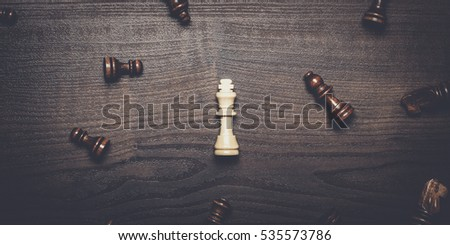 chess figures on brown wooden table concept