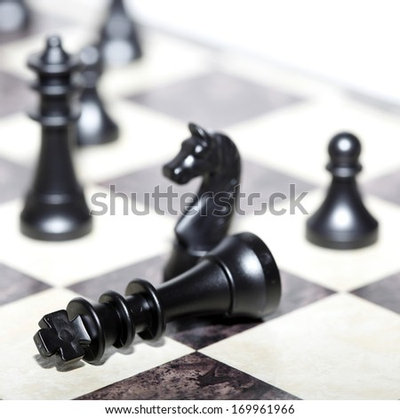 chess figures - strategy and leadership concept - stock photo