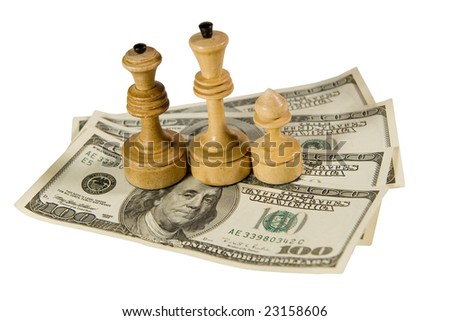 Chess figures (white king, queen and pawn) standing on US dollars, isolated on white - stock photo