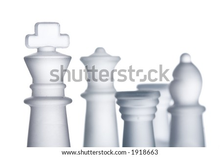 Chess formation against white background - stock photo