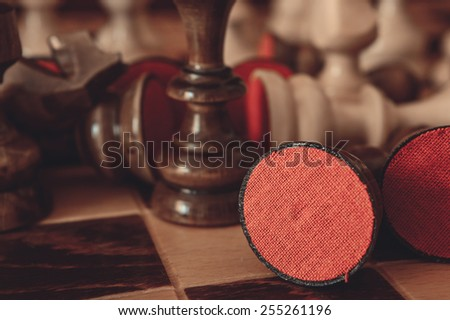 Chess game background - stock photo