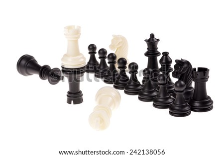Chess game. Black and white chess piece. Isolated on white background. - stock photo