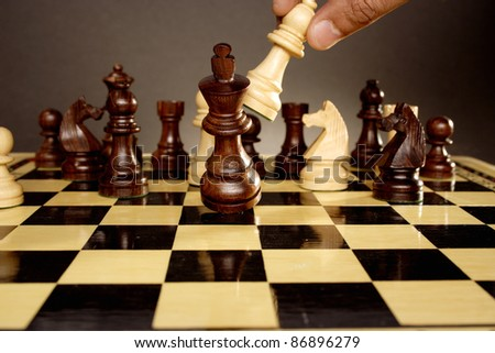 Chess game comes to an end. The king is checkmated - stock photo