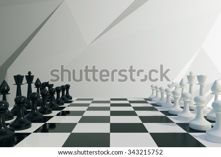Chess game concept 3D Render - stock photo