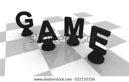 Chess Game 3D font black - stock photo