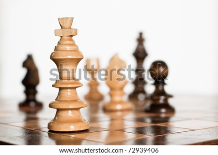 Chess game figure on board. - stock photo