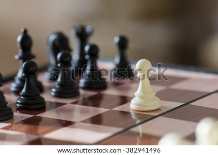 chess, game, sport, knight, pawn, king, queen, rook, bishop, white, black, chessboard - stock photo