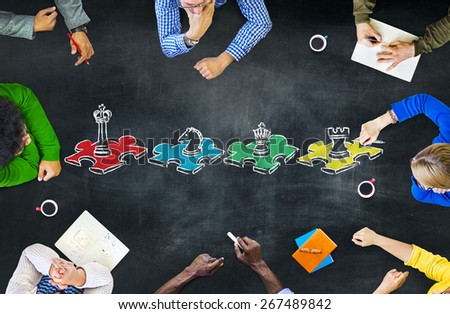 Chess Game Strategy Leisure Entertainment Recreation Tactics Concept - stock photo