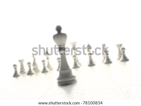 Chess game with the king figure in the front - stock photo