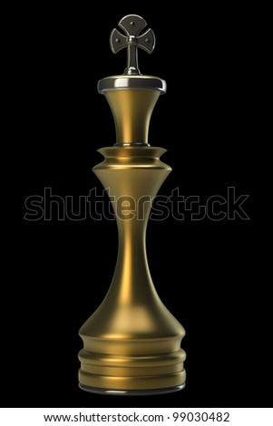 Chess golden King isolated on black background. High resolution. 3D image