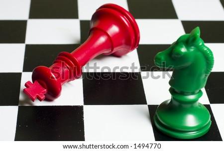 Chess Green Horse Queen - stock photo