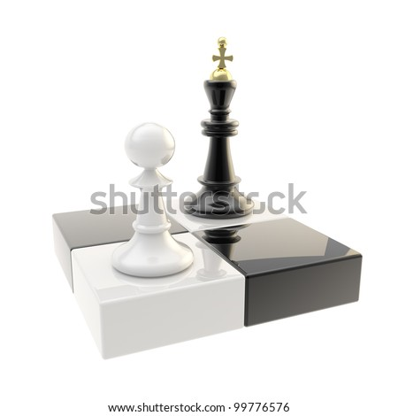 Chess icon glossy illustration of attacking pawn and king isolated on symbolic chessboard - stock photo